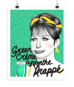 Green Crème de Menthe Frappé - Barbra Streisand - Screenprint
