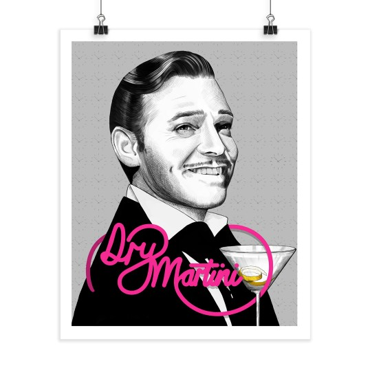Dry Martini - Clark Gable - Screenprint