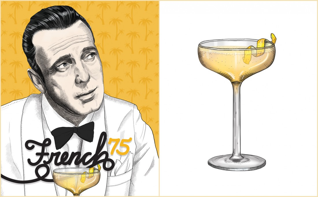 French 75 Recipe   Humphrey Bogart   Casablanca